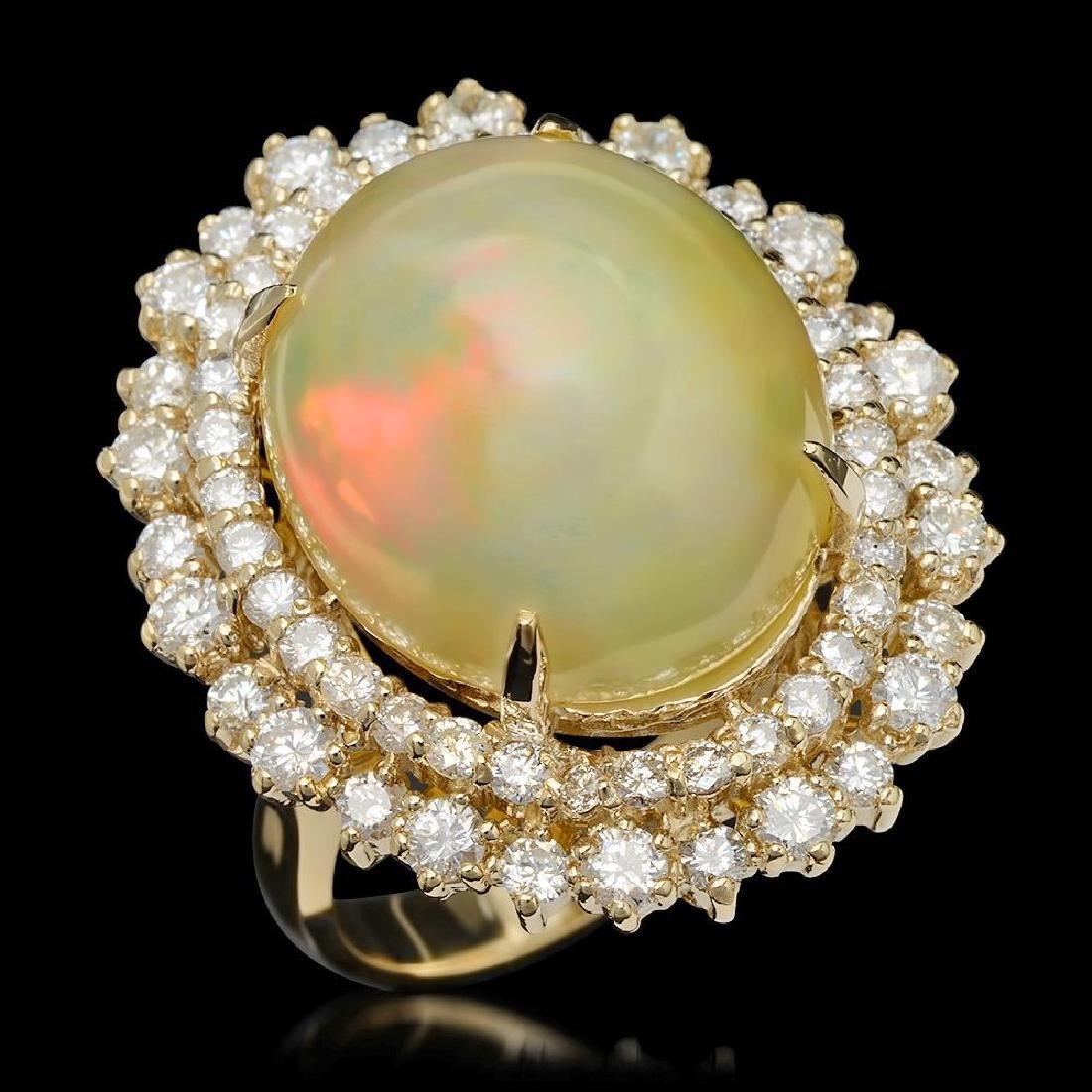 14K Gold 12.56ct Opal & 2.07ct Diamond Ring