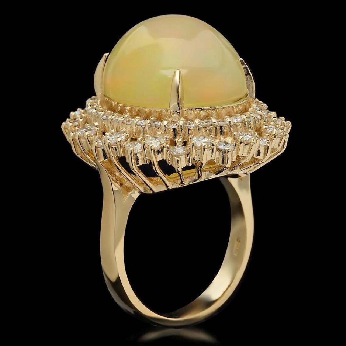 14K Gold 12.56ct Opal & 2.07ct Diamond Ring - 2