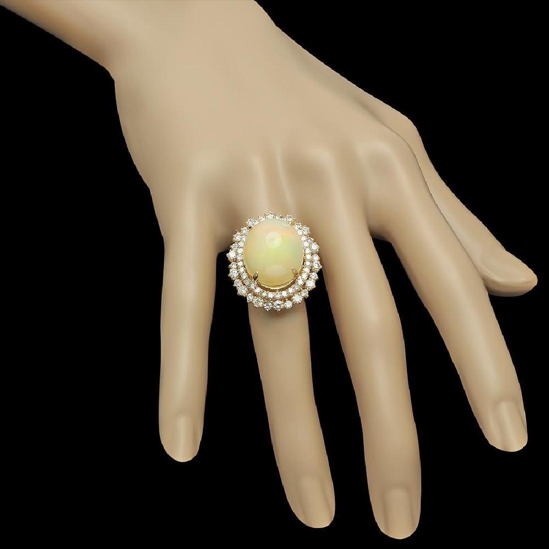 14K Gold 12.56ct Opal & 2.07ct Diamond Ring - 3