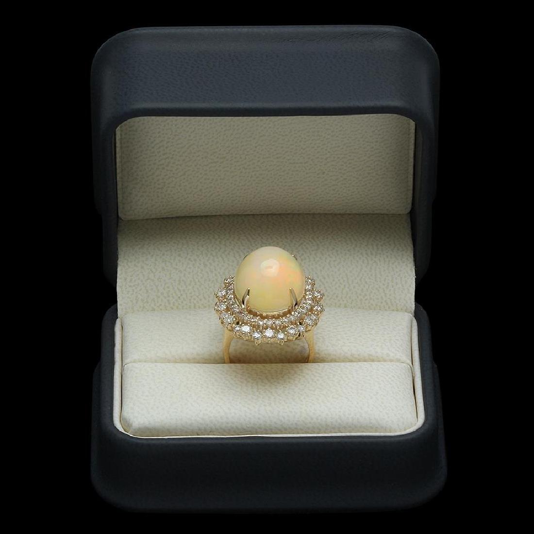 14K Gold 12.56ct Opal & 2.07ct Diamond Ring - 4