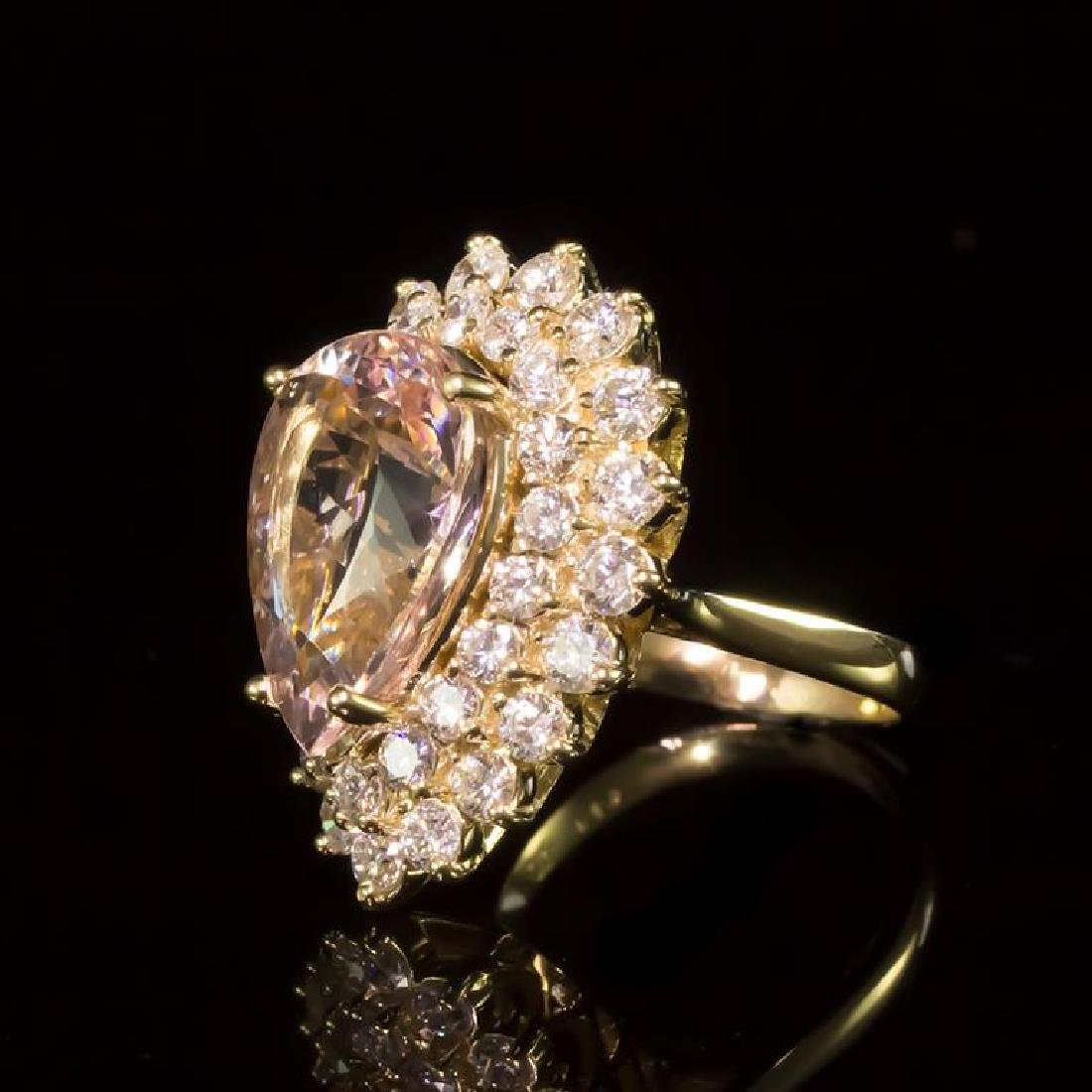 14K Gold 6.88ct Morganite 2.67ct Diamond Ring - 2