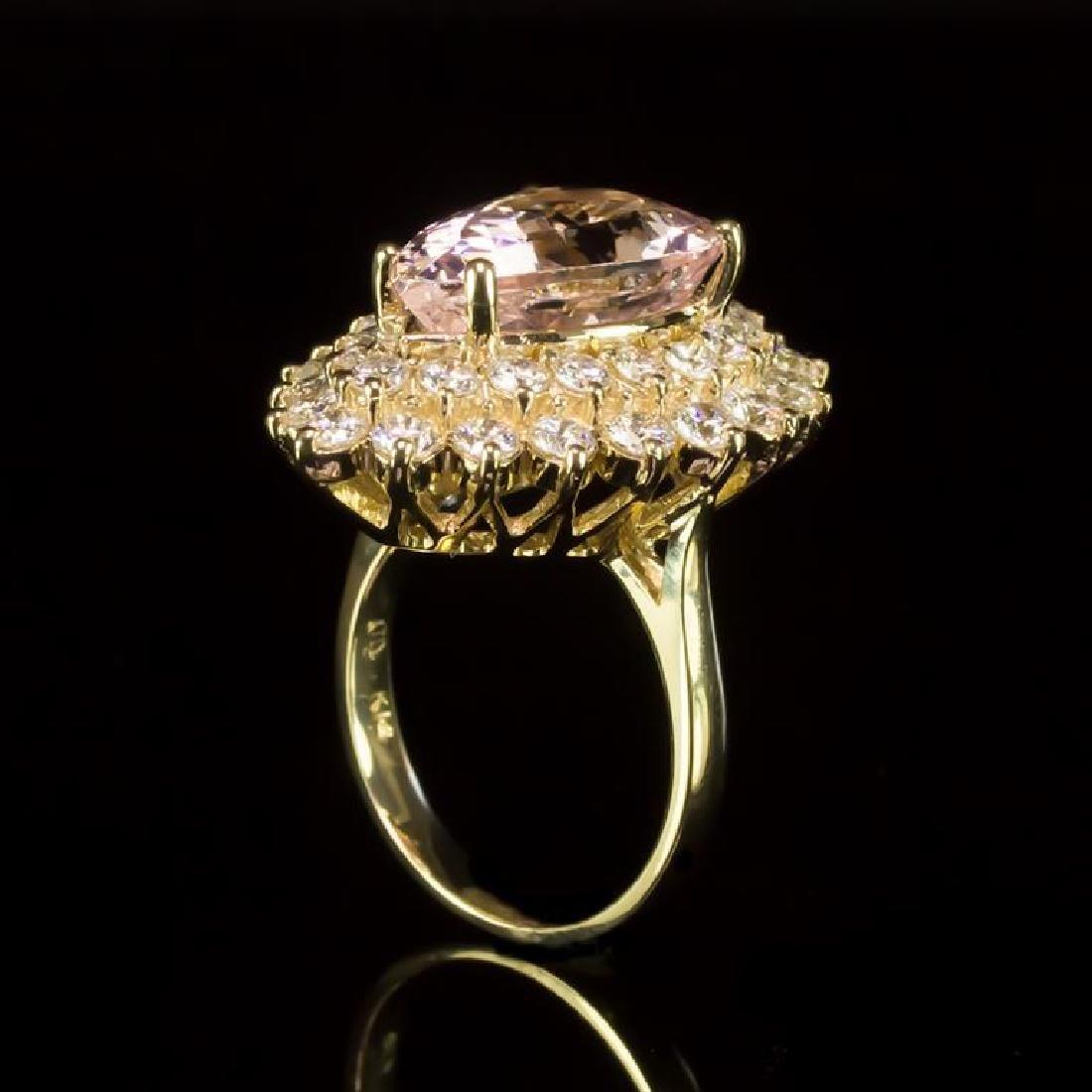 14K Gold 6.88ct Morganite 2.67ct Diamond Ring - 3