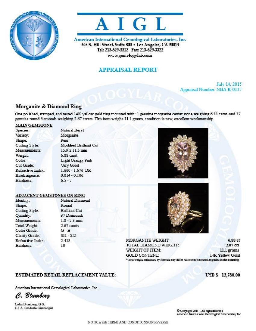 14K Gold 6.88ct Morganite 2.67ct Diamond Ring - 4