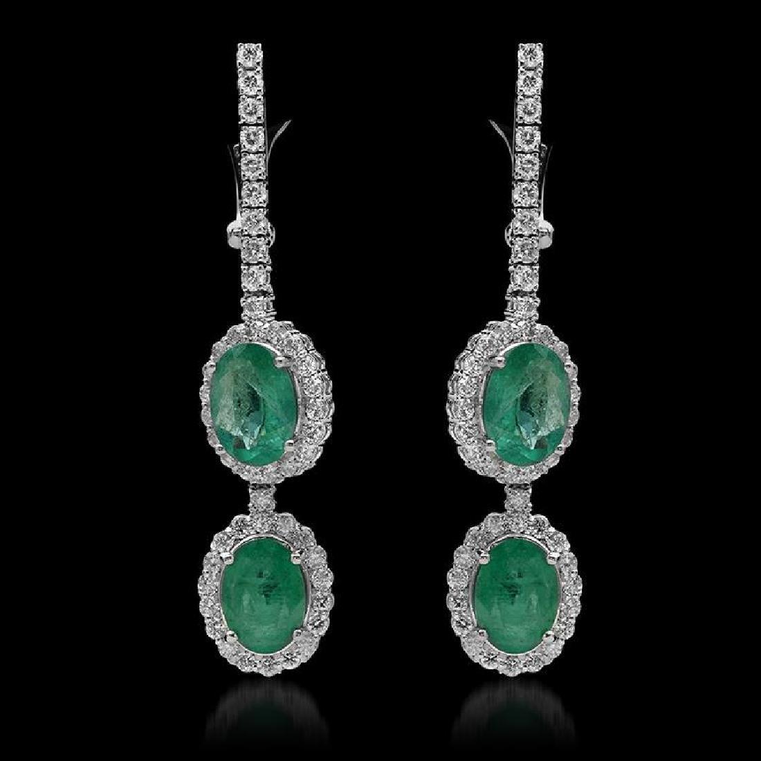 14K Gold 5.08ct Emerald & 1.97ct Diamond Earrings