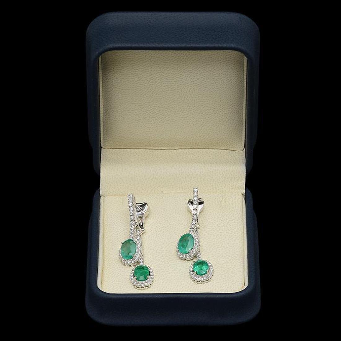 14K Gold 5.08ct Emerald & 1.97ct Diamond Earrings - 2