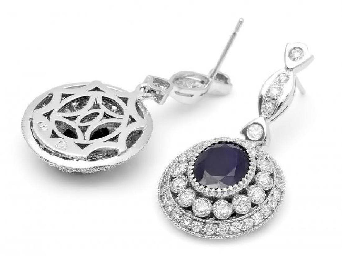 14k Gold 6ct Sapphire 2.55ct Diamond Earrings - 2