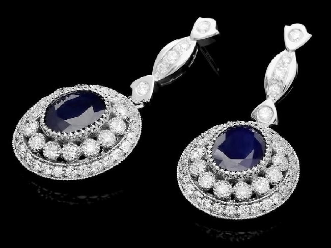 14k Gold 6ct Sapphire 2.55ct Diamond Earrings - 3