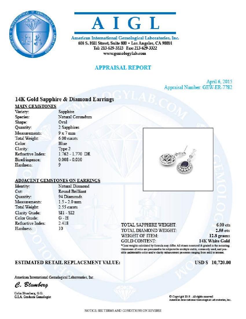 14k Gold 6ct Sapphire 2.55ct Diamond Earrings - 4