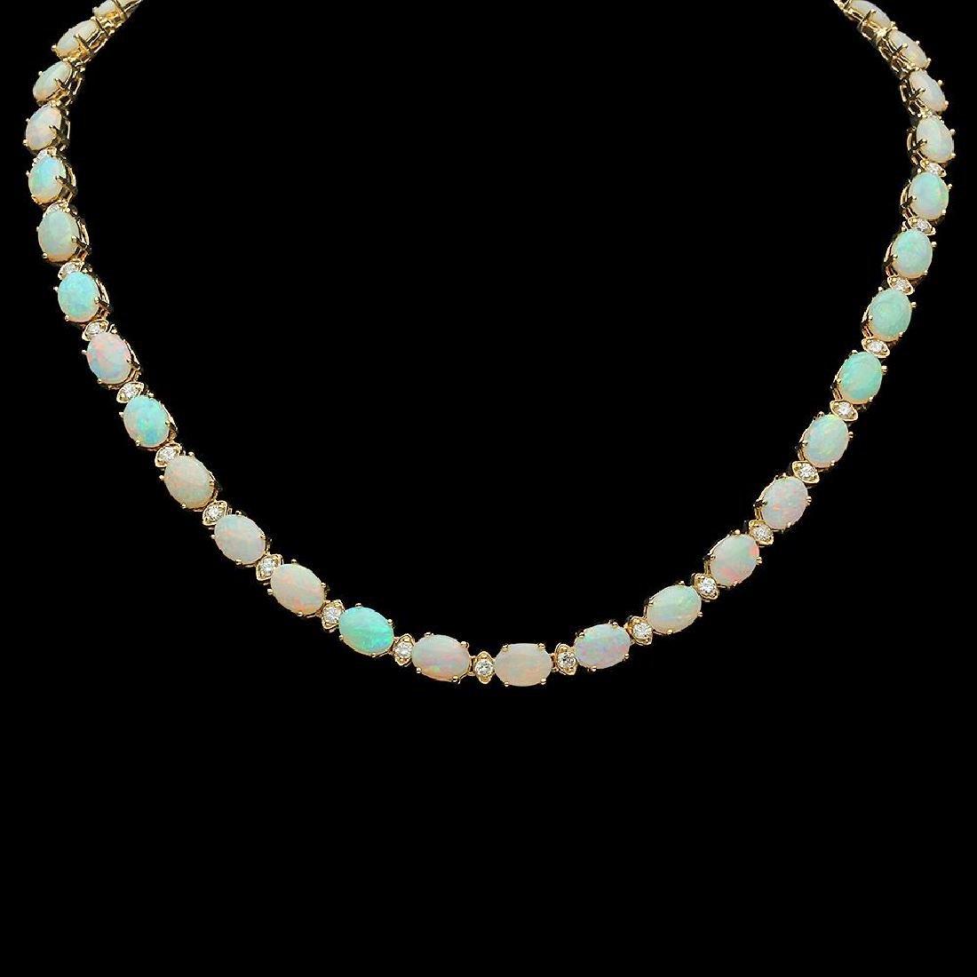 14K Gold 24.51ct Opal 2.24ct Diamond Necklace