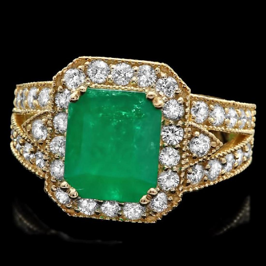 14k Gold 2.70ct Emerald 1.30ct Diamond Ring