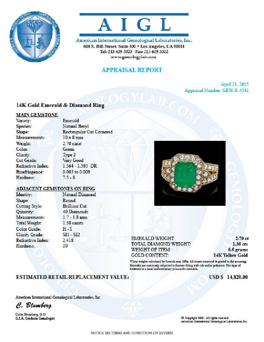 14k Gold 2.70ct Emerald 1.30ct Diamond Ring - 4