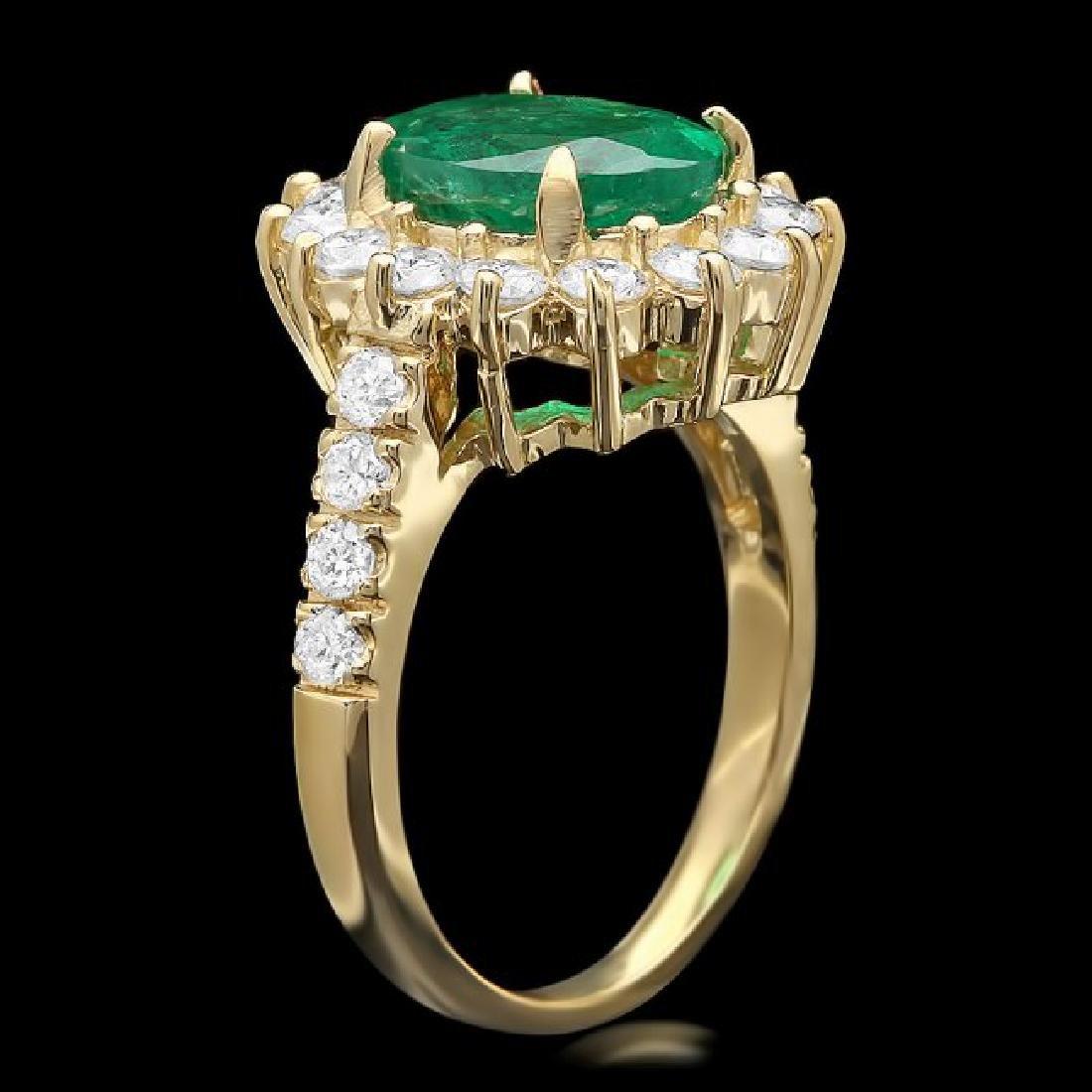 14k Gold 2.50ct Emerald 1.30ct Diamond Ring - 2