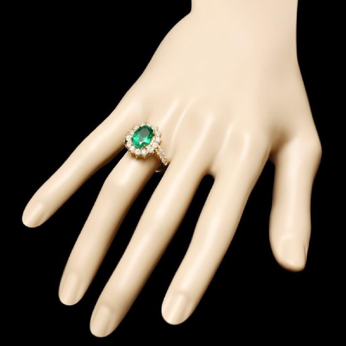 14k Gold 2.50ct Emerald 1.30ct Diamond Ring - 3