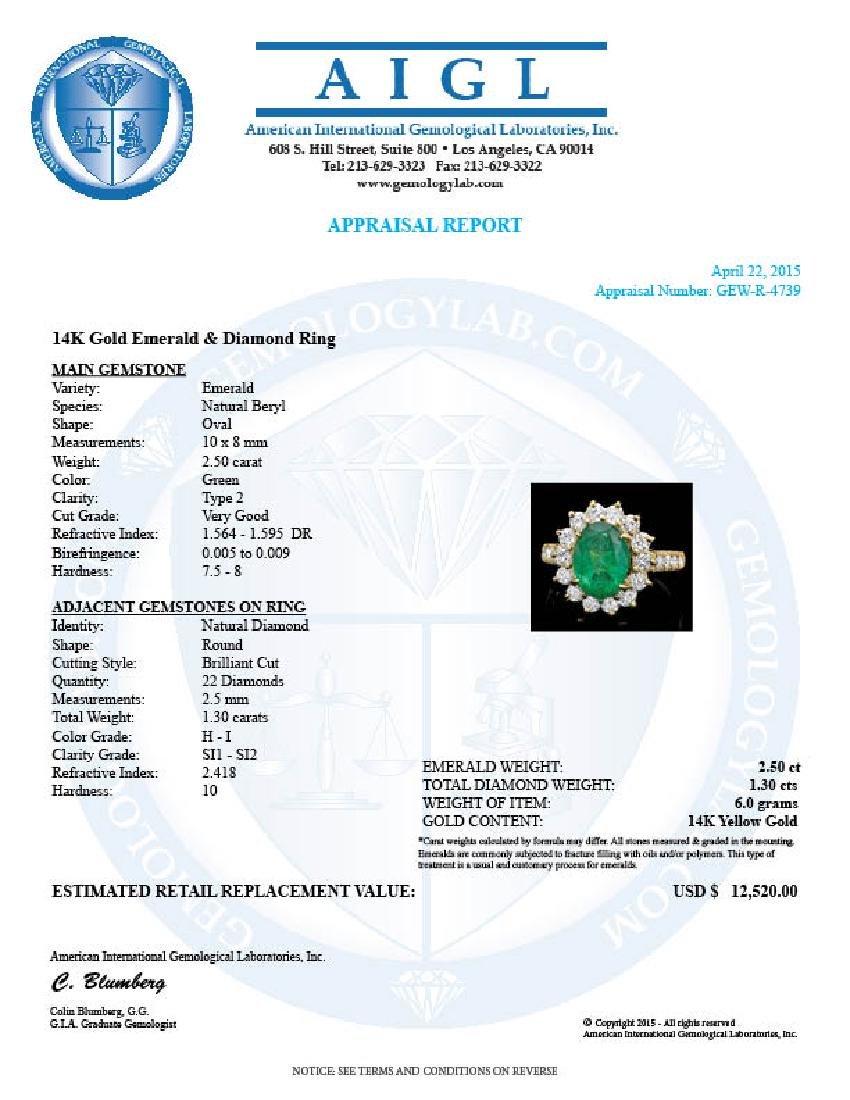 14k Gold 2.50ct Emerald 1.30ct Diamond Ring - 4