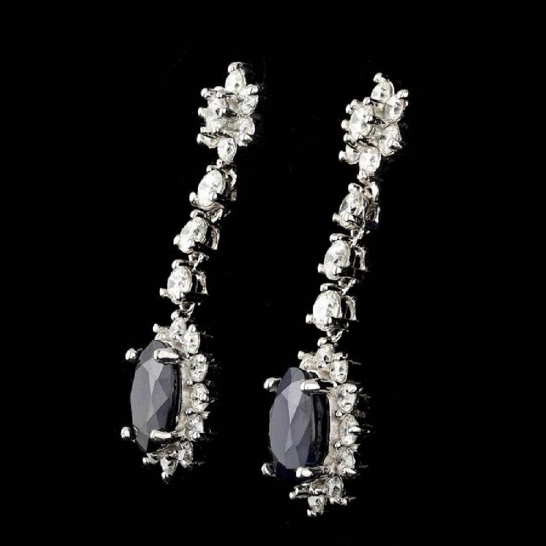 14k Gold 4.50ct Sapphire 2.35ct Diamond Earrings - 2