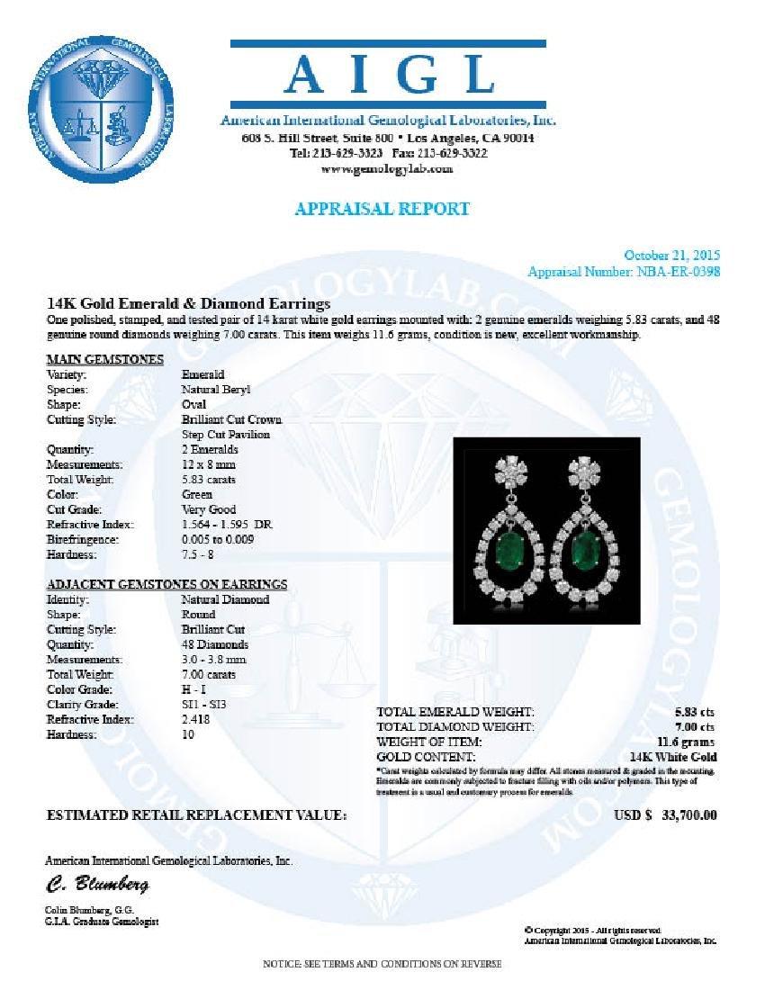 14K Gold 5.83ct Emerald 7.00ct Diamond Earrings - 3