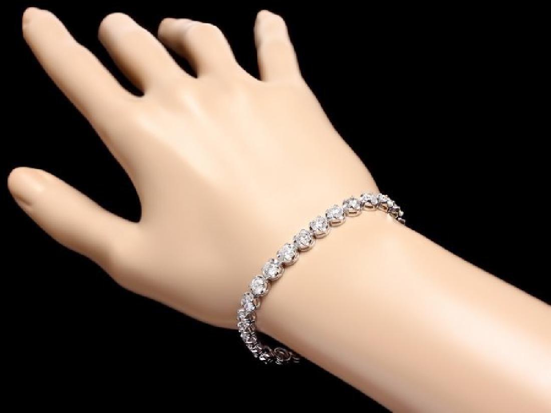 18k White Gold 10.00ct Diamond Tennis Bracelet - 5