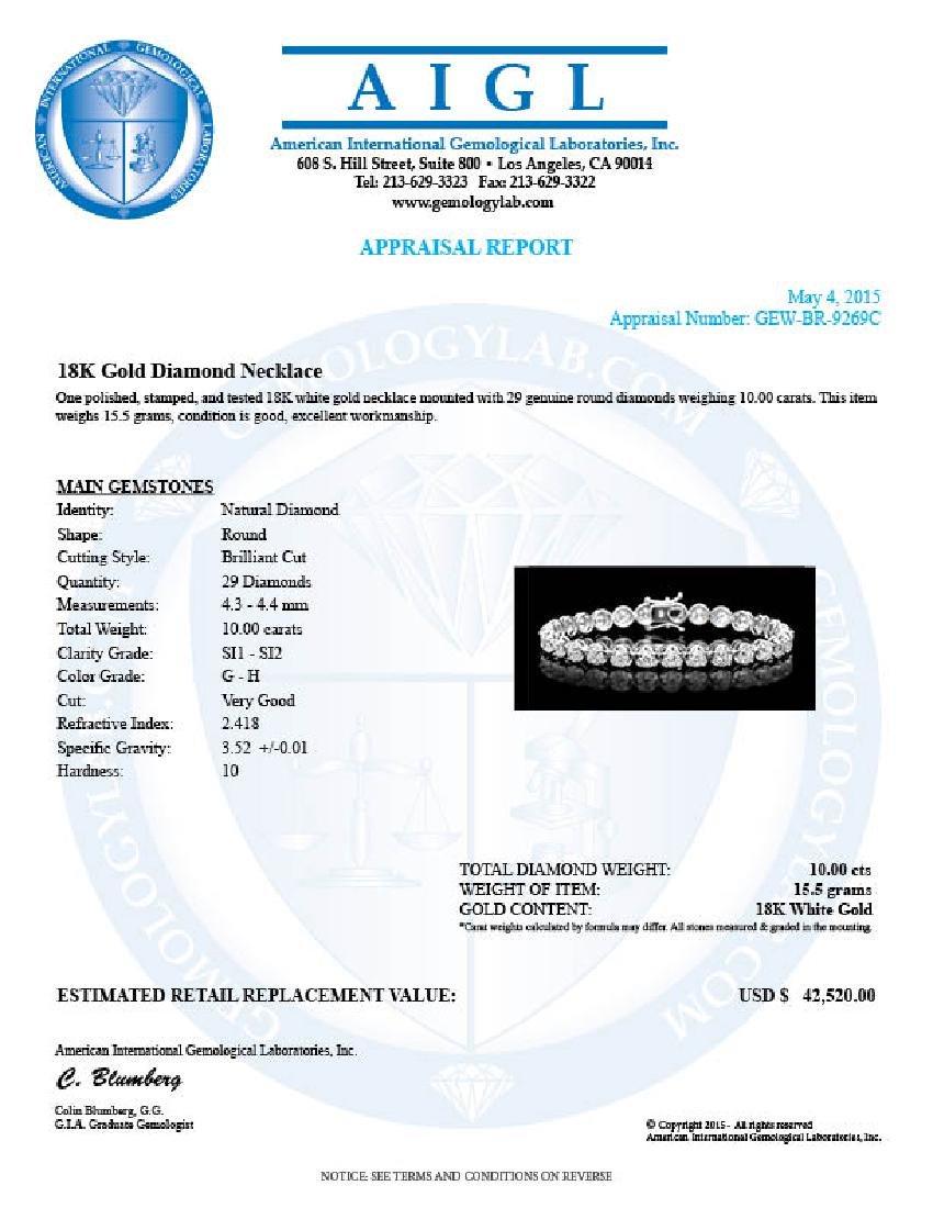 18k White Gold 10.00ct Diamond Tennis Bracelet - 6