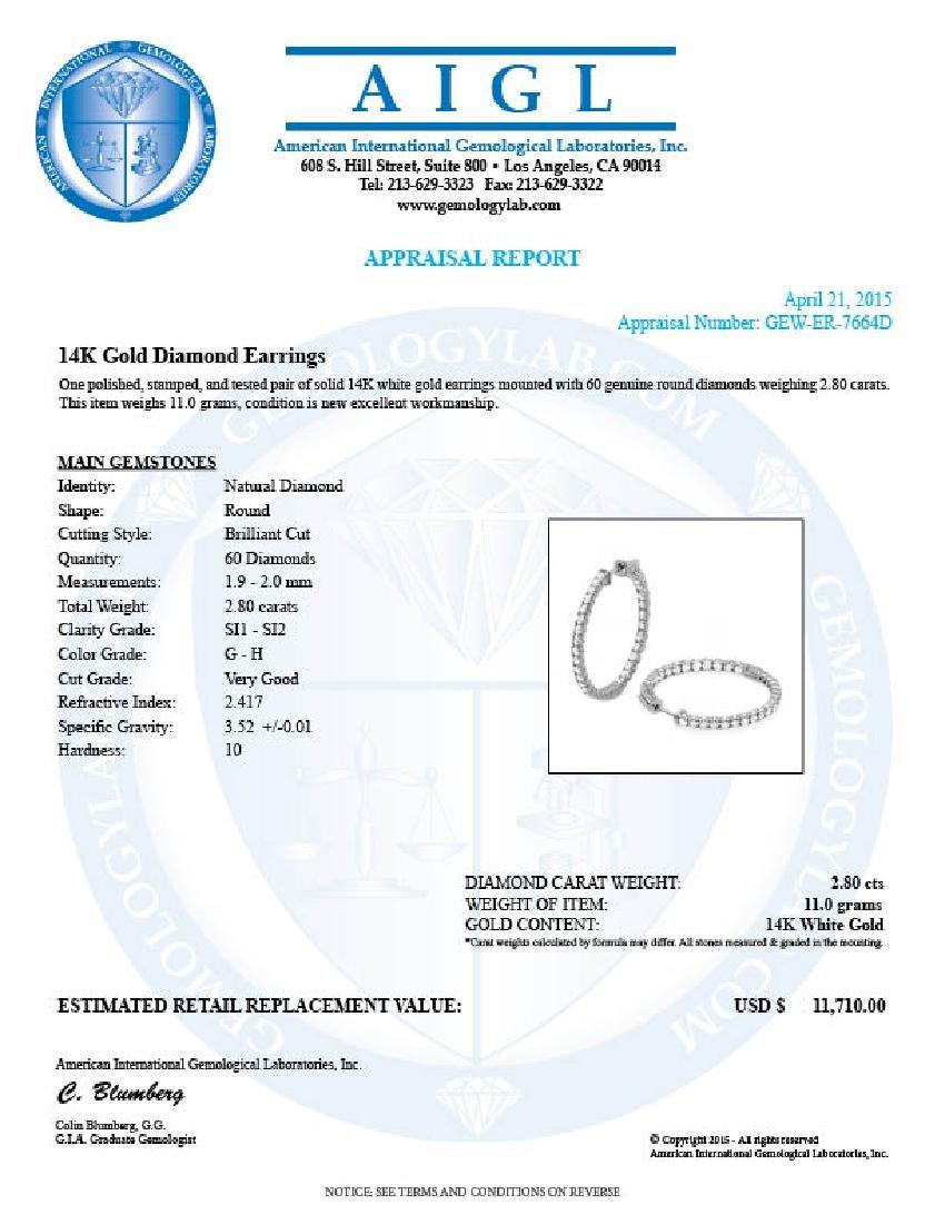 14k White Gold 2.80ct Diamond Earrings - 5