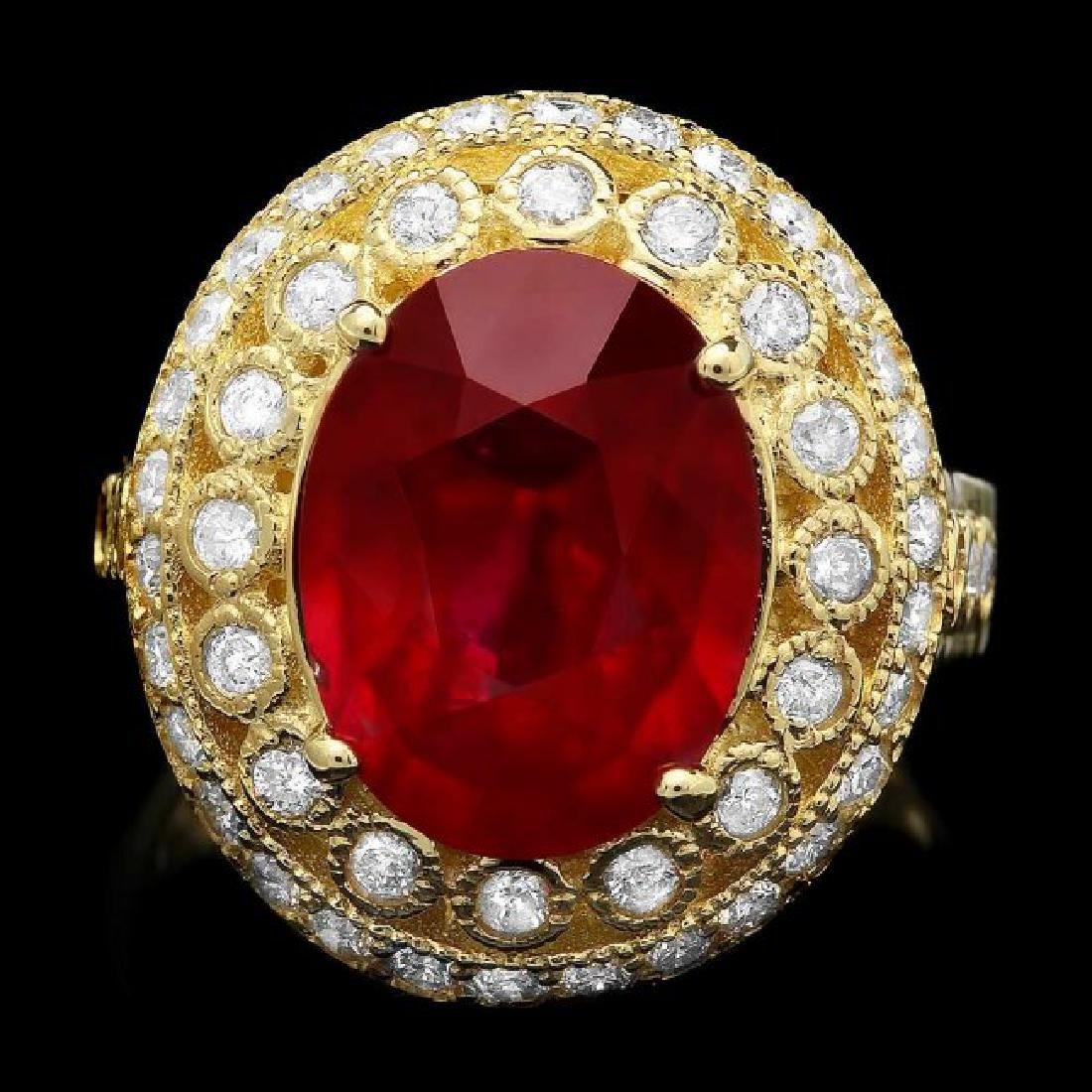14k Yellow Gold 6.00ct Ruby 1.10ct Diamond Ring