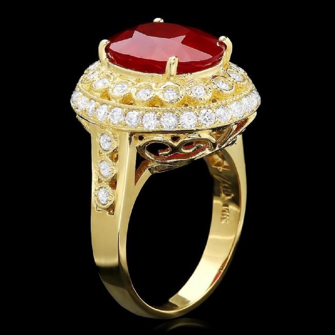 14k Yellow Gold 6.00ct Ruby 1.10ct Diamond Ring - 2