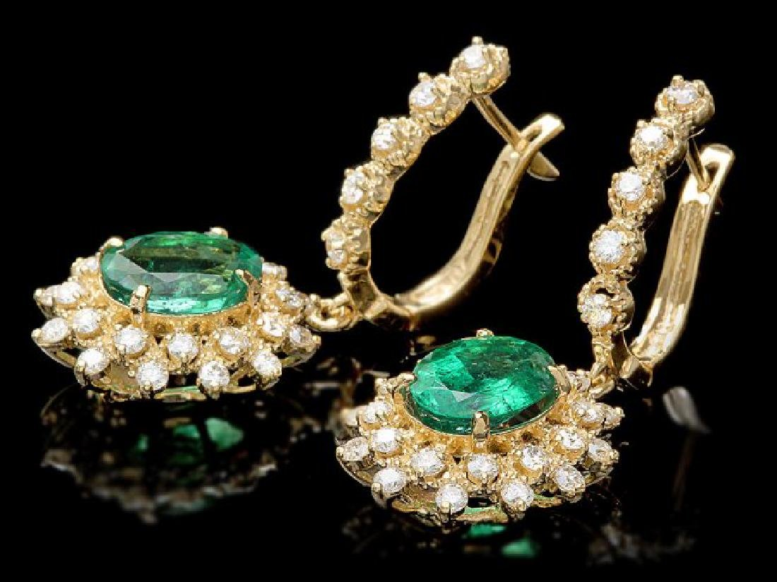 14k Gold 4ct Emerald 1.55ct Diamond Earrings - 3
