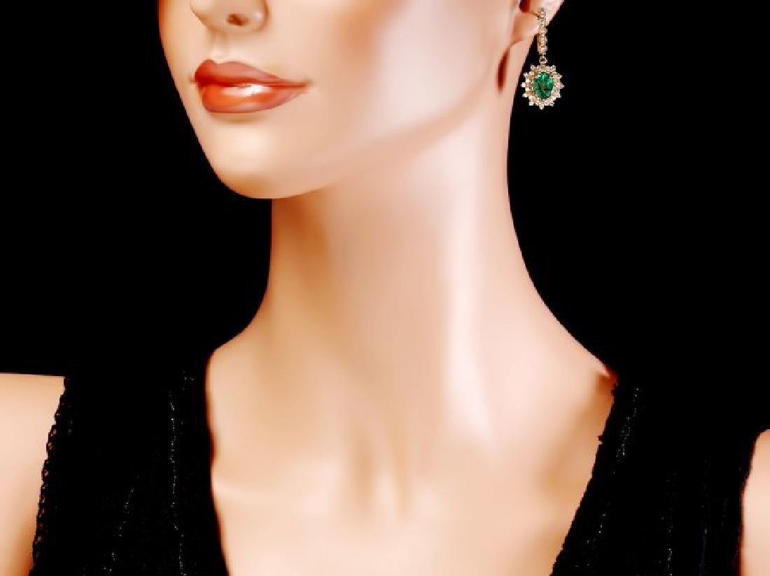 14k Gold 4ct Emerald 1.55ct Diamond Earrings - 4