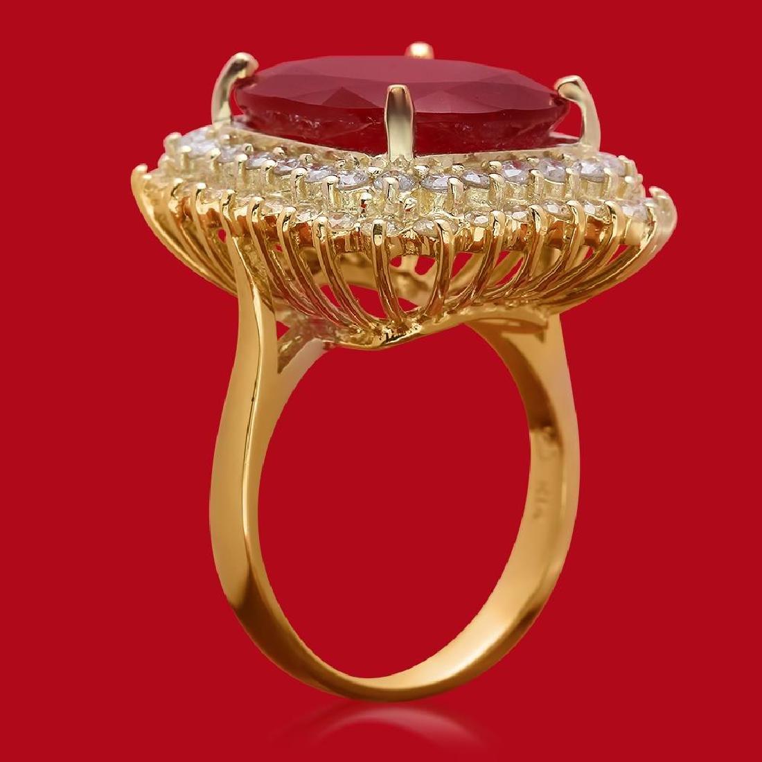 14K Gold 14.12ct Ruby 1.74ct Diamond Ring - 2