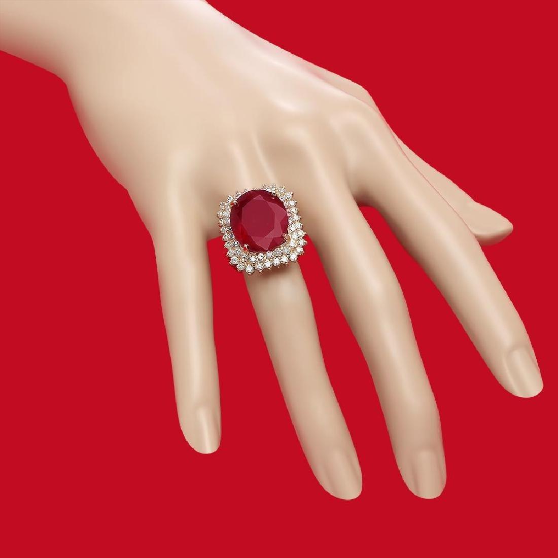 14K Gold 14.12ct Ruby 1.74ct Diamond Ring - 3