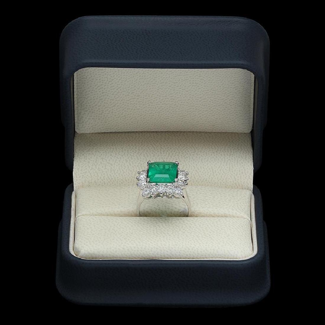 18K Gold 4.18 Emerald 2.00 Diamond Ring - 4