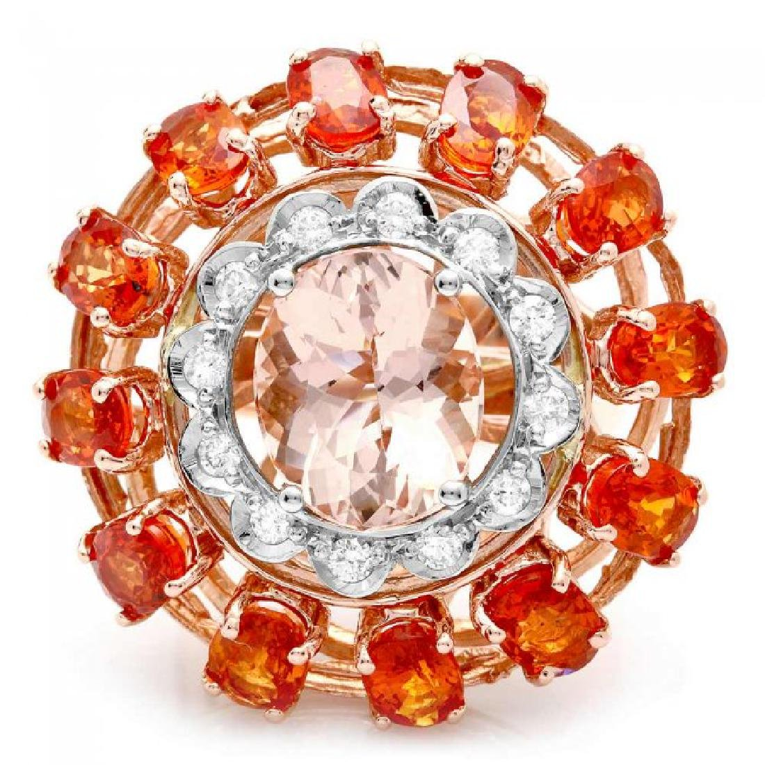 14k 11ctw Morganite Sapphire .40ct Diamond Ring - 2