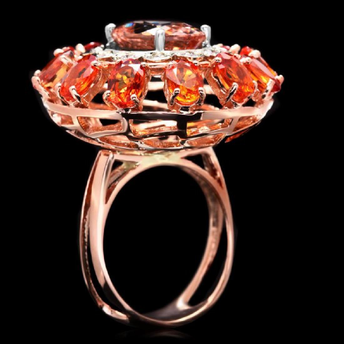 14k 11ctw Morganite Sapphire .40ct Diamond Ring - 3