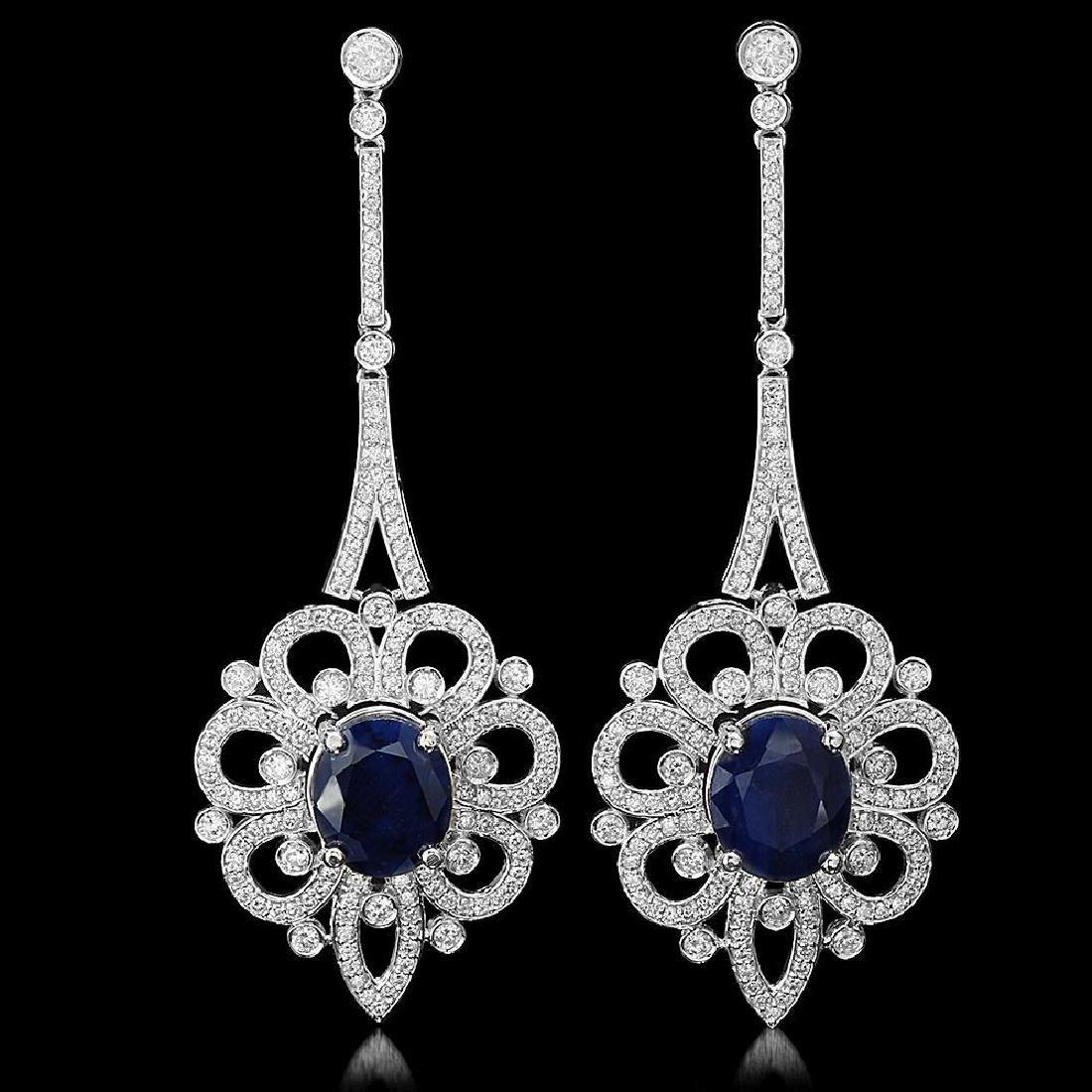 18K Gold 13.64ct Sapphire 4.08ct Diamond Earrings