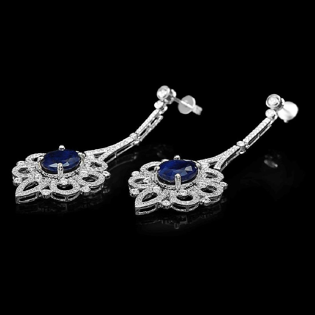 18K Gold 13.64ct Sapphire 4.08ct Diamond Earrings - 2
