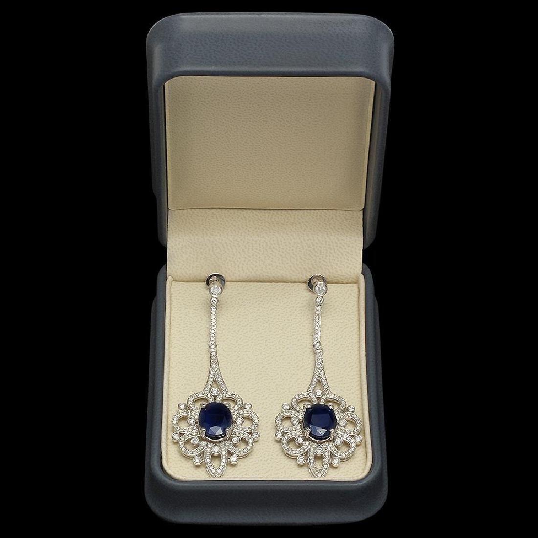 18K Gold 13.64ct Sapphire 4.08ct Diamond Earrings - 3