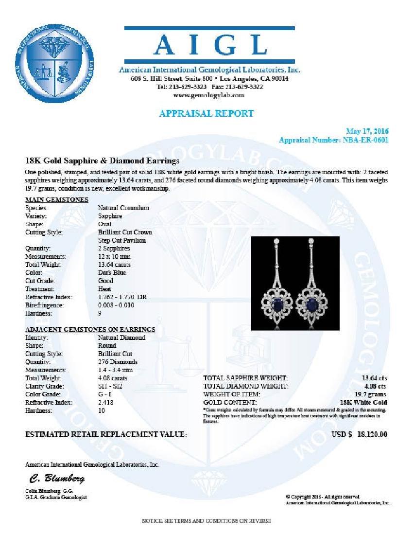 18K Gold 13.64ct Sapphire 4.08ct Diamond Earrings - 4