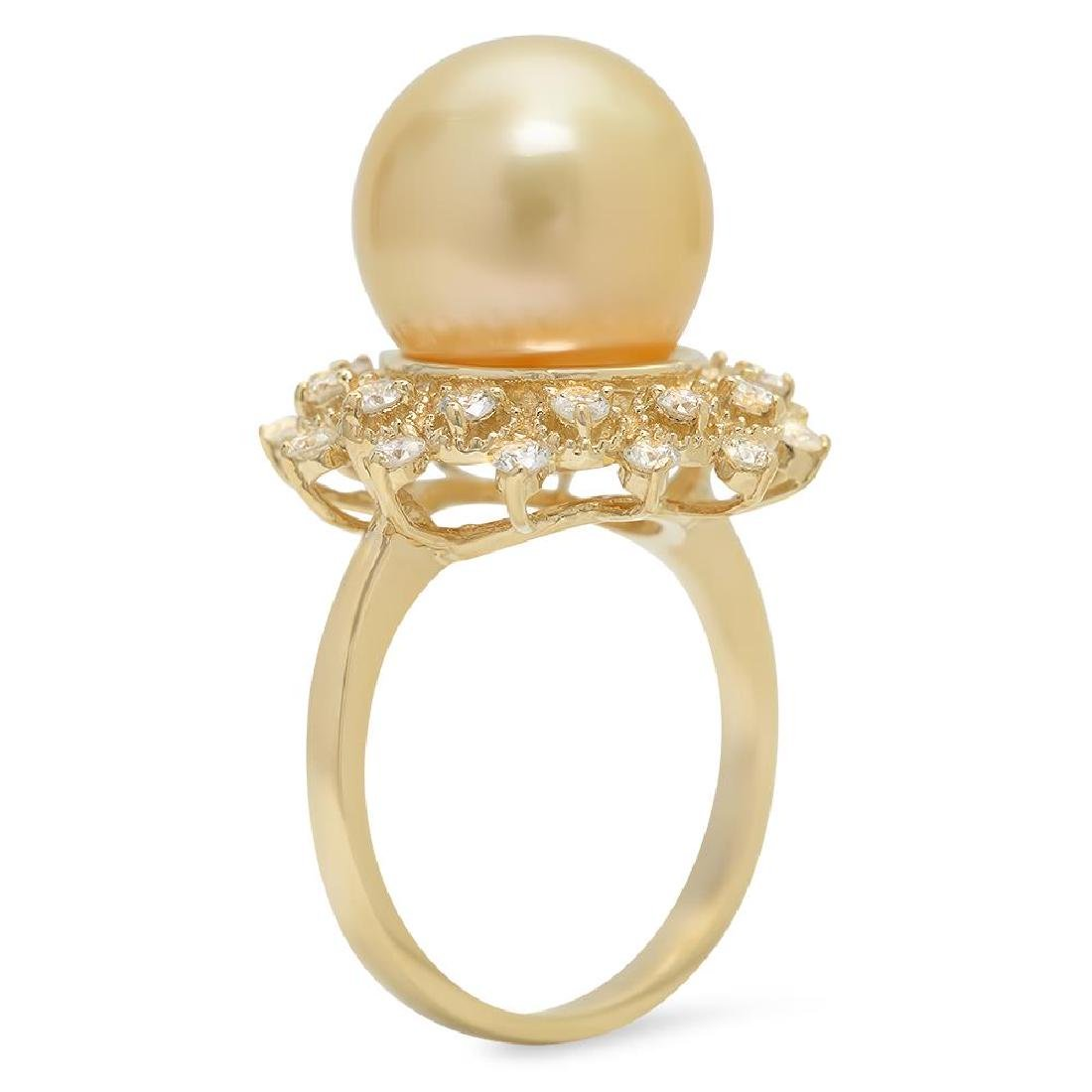 14K Gold 12mm Pearl 0.77cts Diamond Ring - 2