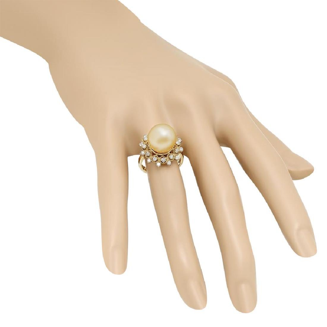 14K Gold 12mm Pearl 0.77cts Diamond Ring - 3