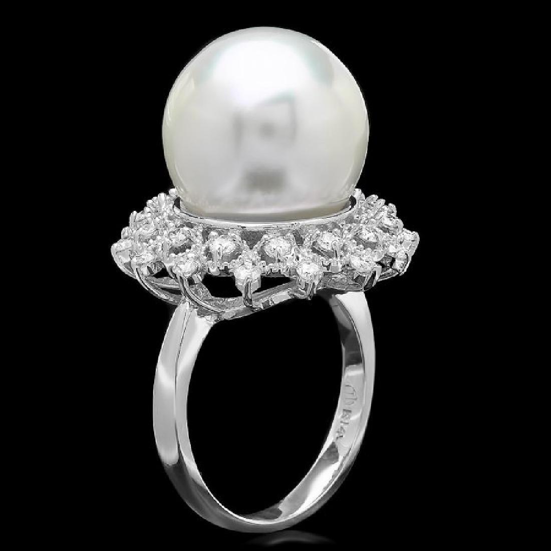 14k Gold 14 X 14mm Pearl 0.60ct Diamond Ring - 2