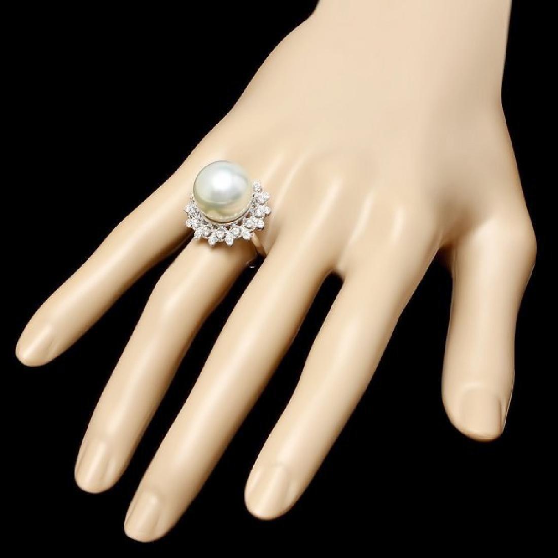 14k Gold 14 X 14mm Pearl 0.60ct Diamond Ring - 3