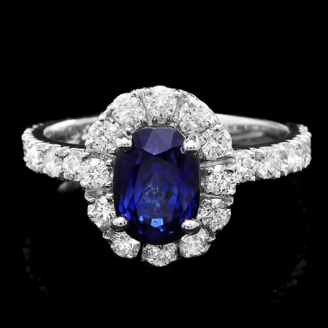 14k Gold 2.40ct Sapphire 1.00ct Diamond Ring