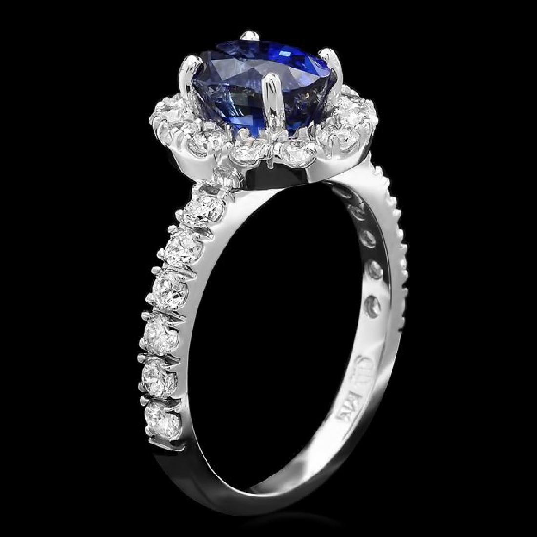 14k Gold 2.40ct Sapphire 1.00ct Diamond Ring - 2