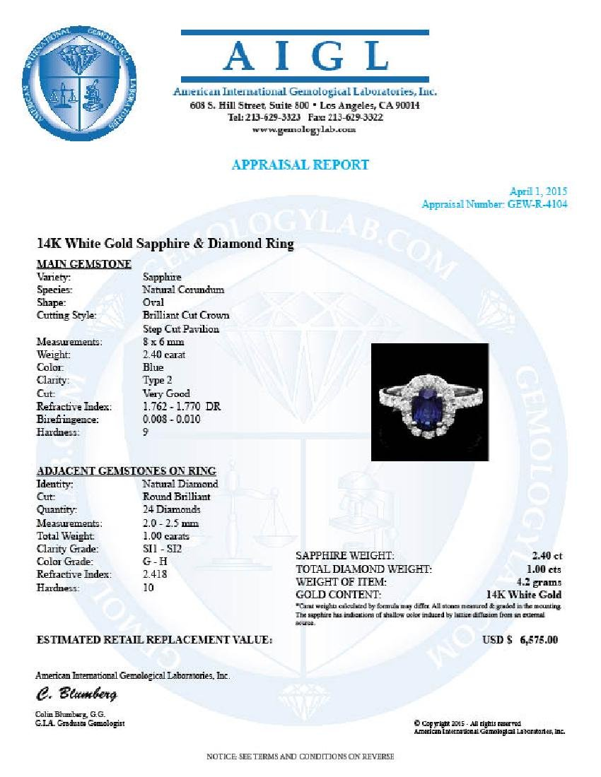 14k Gold 2.40ct Sapphire 1.00ct Diamond Ring - 4
