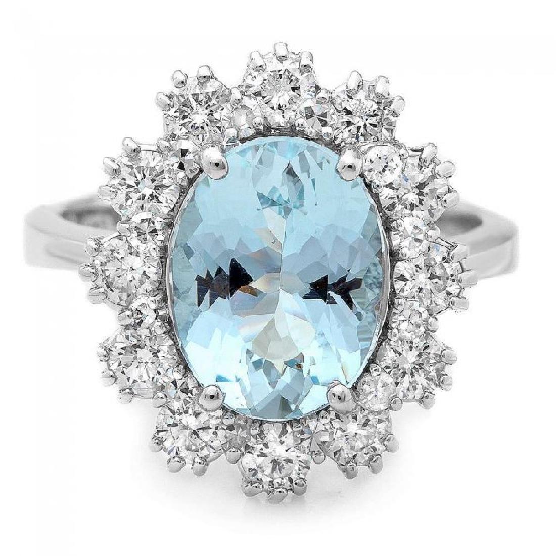 14k Gold 1.25ct Aquamarine 1.25ct Diamond Ring - 2