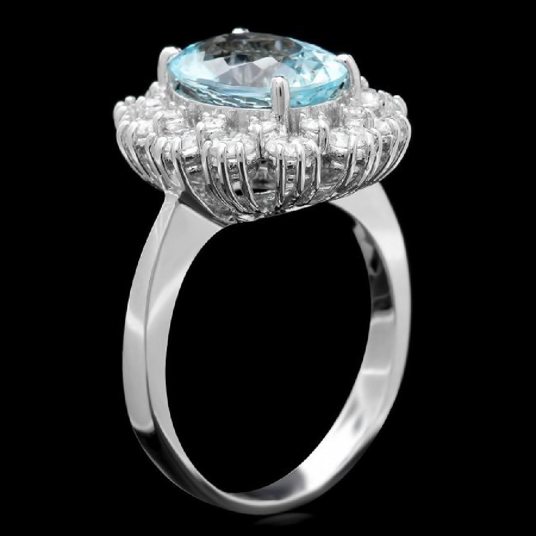 14k Gold 1.25ct Aquamarine 1.25ct Diamond Ring - 3
