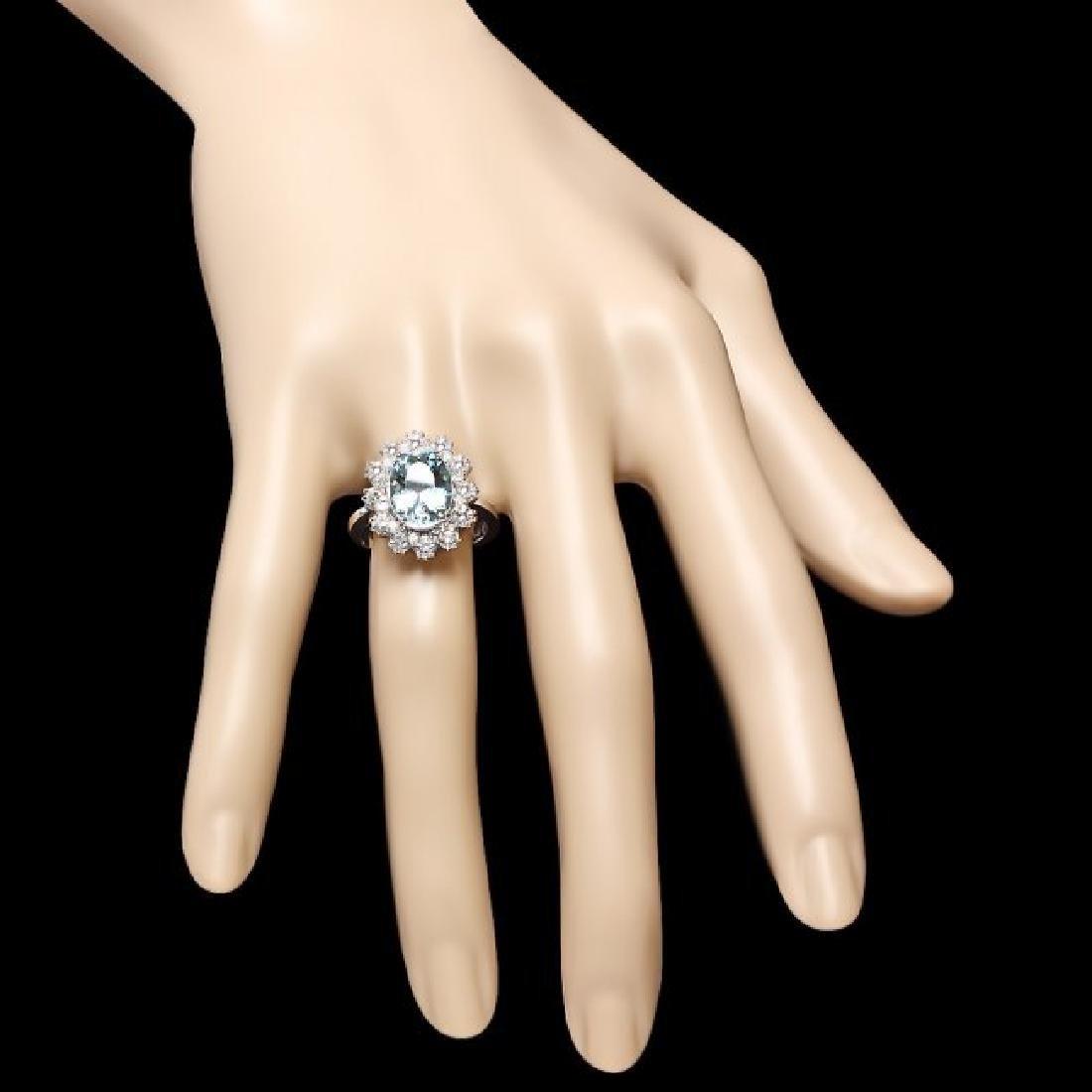 14k Gold 1.25ct Aquamarine 1.25ct Diamond Ring - 4