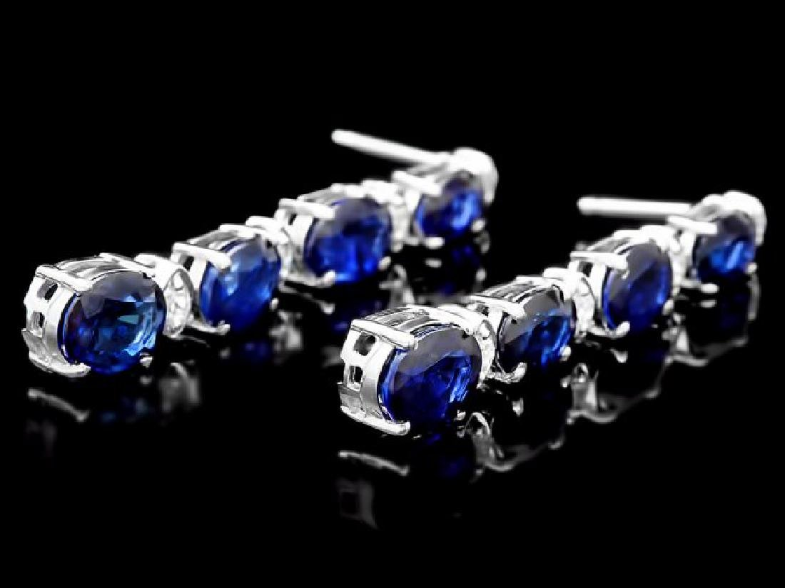 14k Gold 6ct Sapphire .35ct Diamond Earrings - 3