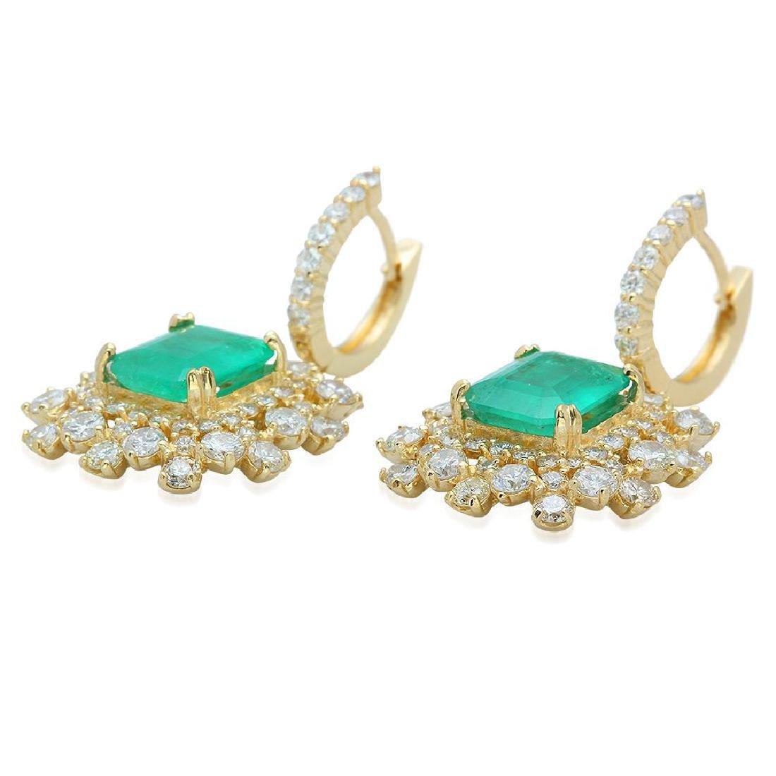 14K Gold 6.28ct Emerald 5.84ct Diamond Earrings - 2