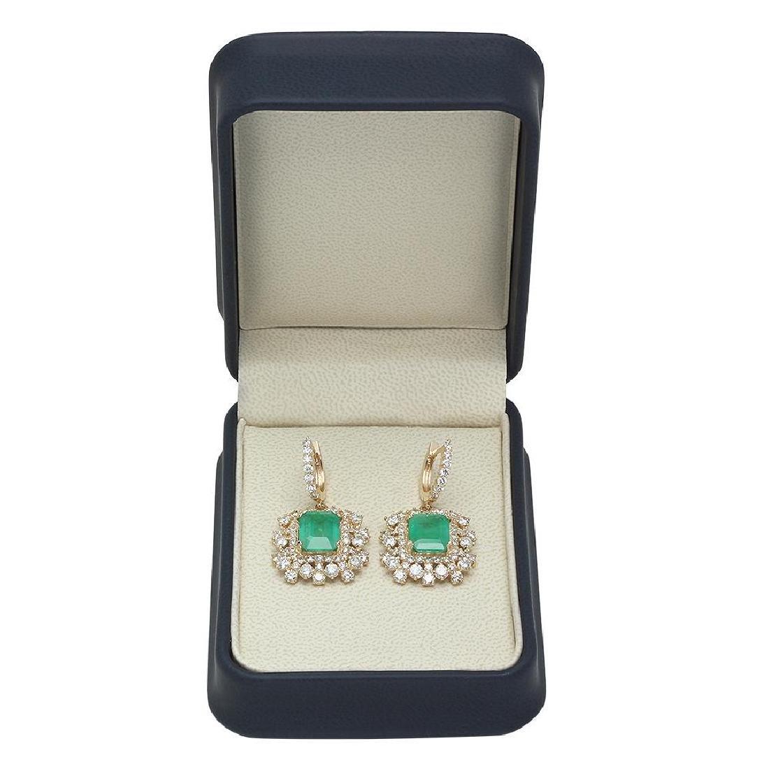 14K Gold 6.28ct Emerald 5.84ct Diamond Earrings - 3