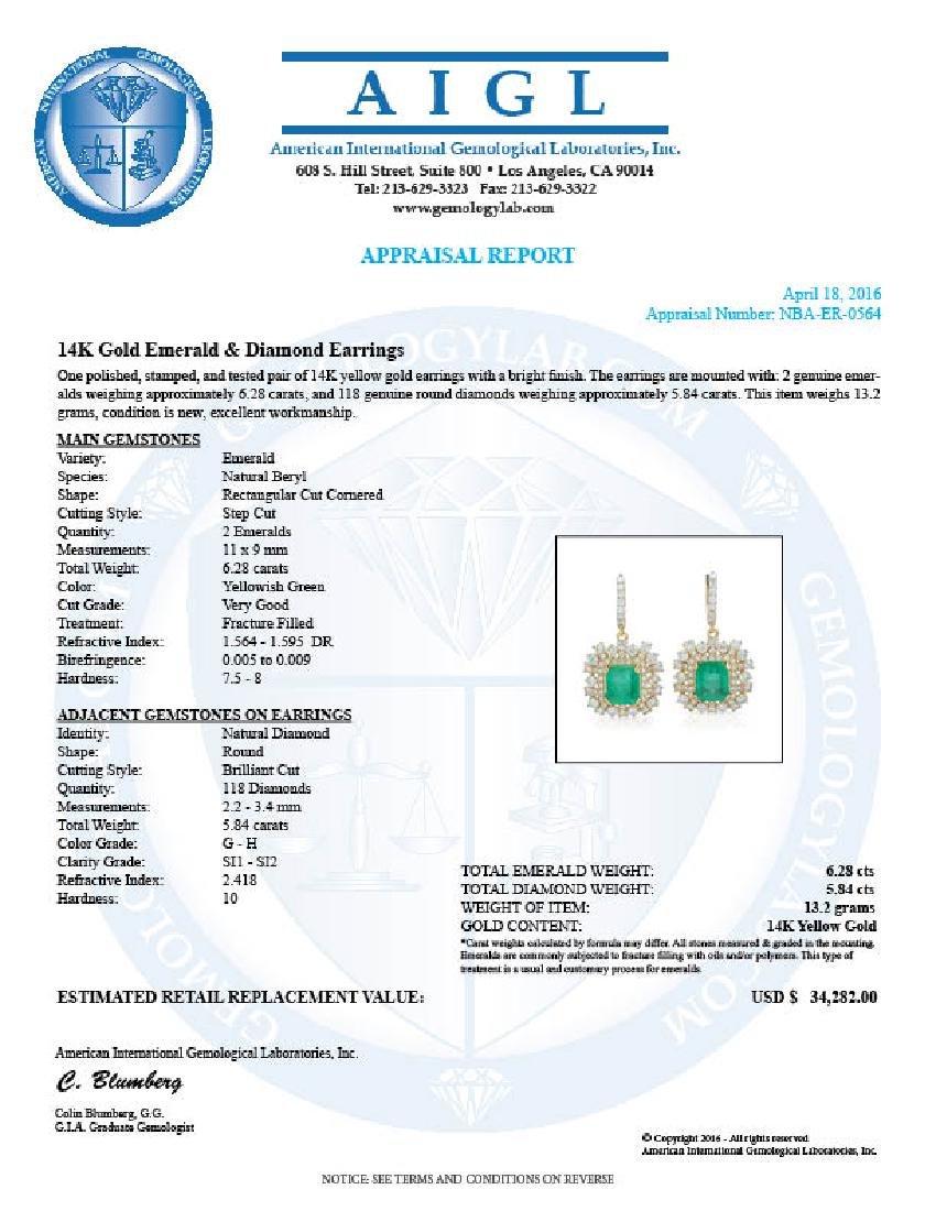 14K Gold 6.28ct Emerald 5.84ct Diamond Earrings - 4